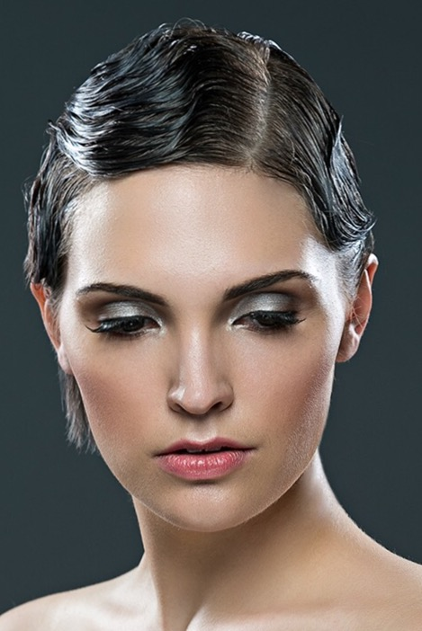 These shimmery, silver, smokey eyes are stunning for an evening wedding!