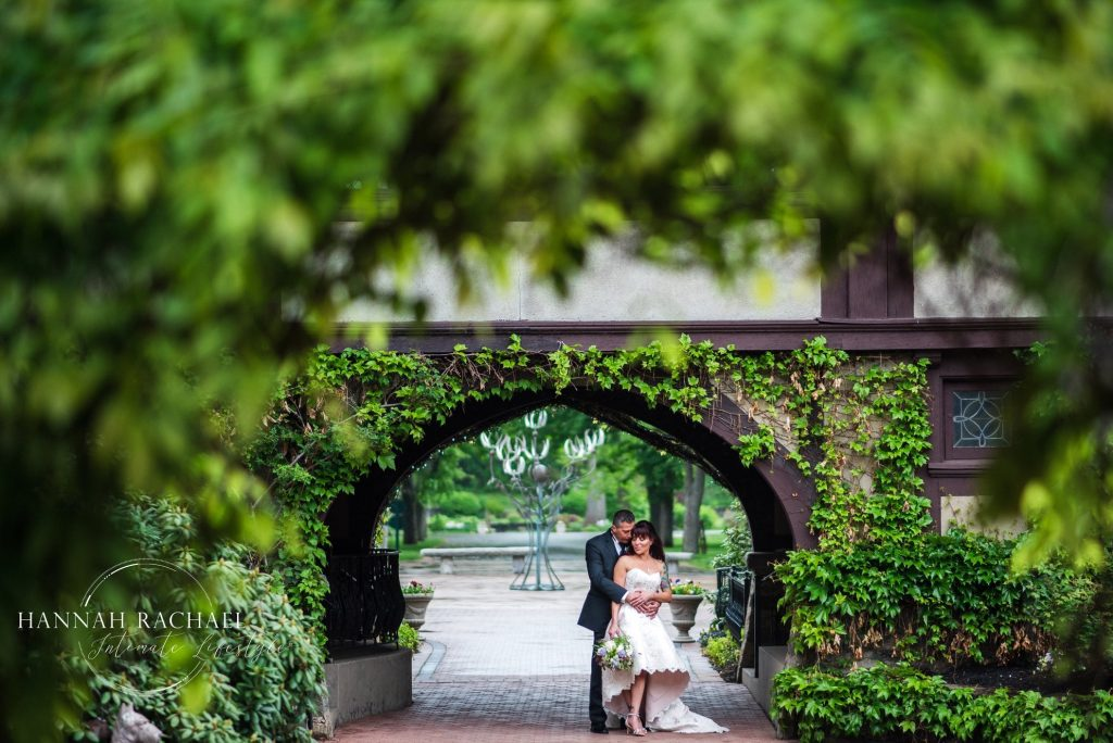 Gorgeous greenery in this shot of the happy couple at Saint Clements Castle in Portland, CT.