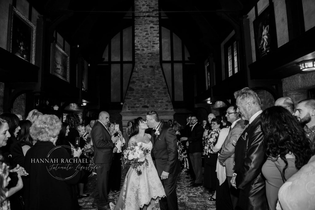 Love this black and white shot fo the kiss at Saint Clements Castle in Portland, CT.