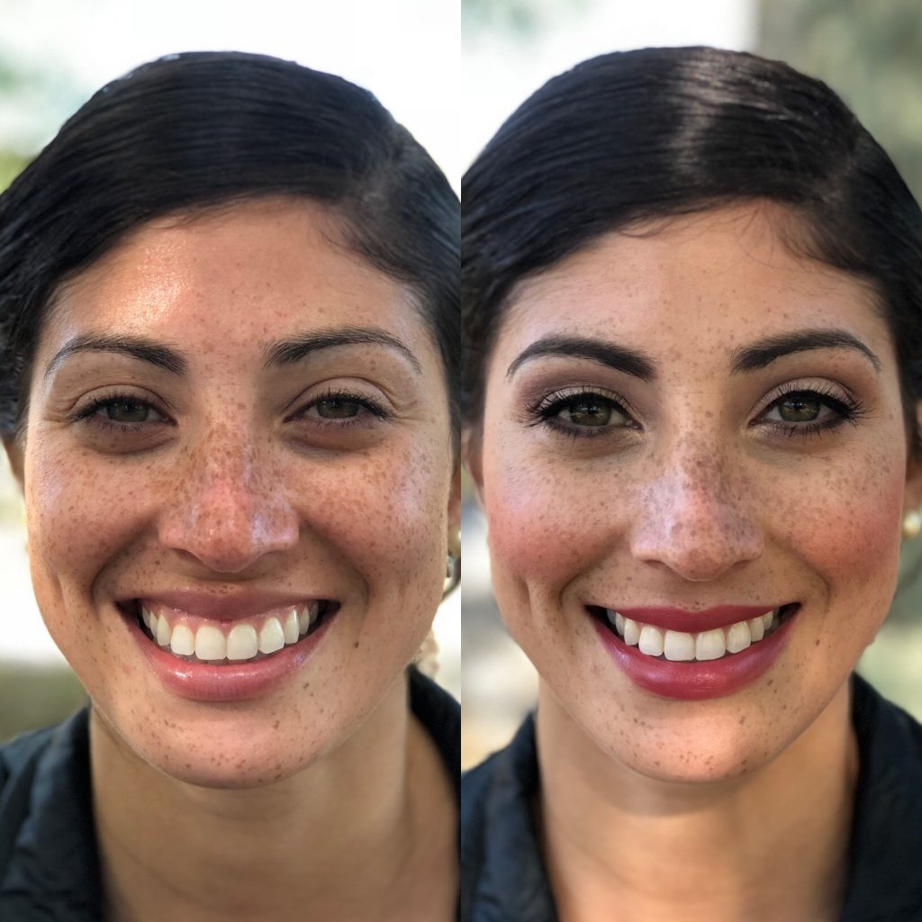 Before and after a classic bridal beauty makeup application by LA Page Makeup at Lavender Pond Farm in Killingworth, CT.