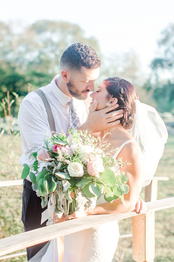 An intimate moment between the newlyweds at Lavender Pond Farm in Killingworth, CT.
