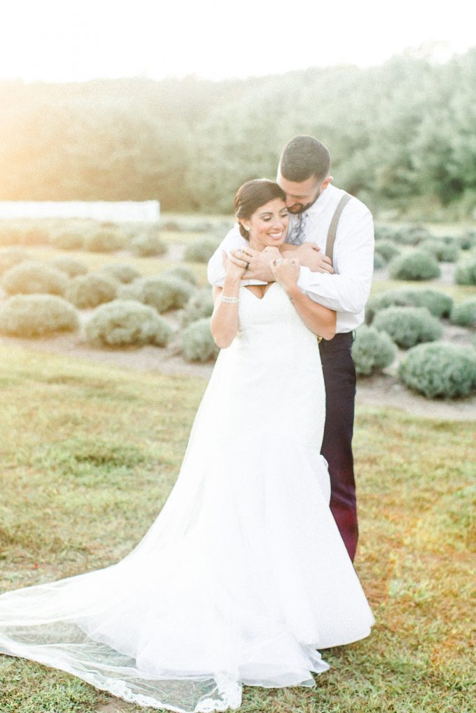 Golden hour is the best hour for these newlyweds at Lavender Pond Farm in Killingworth, CT.