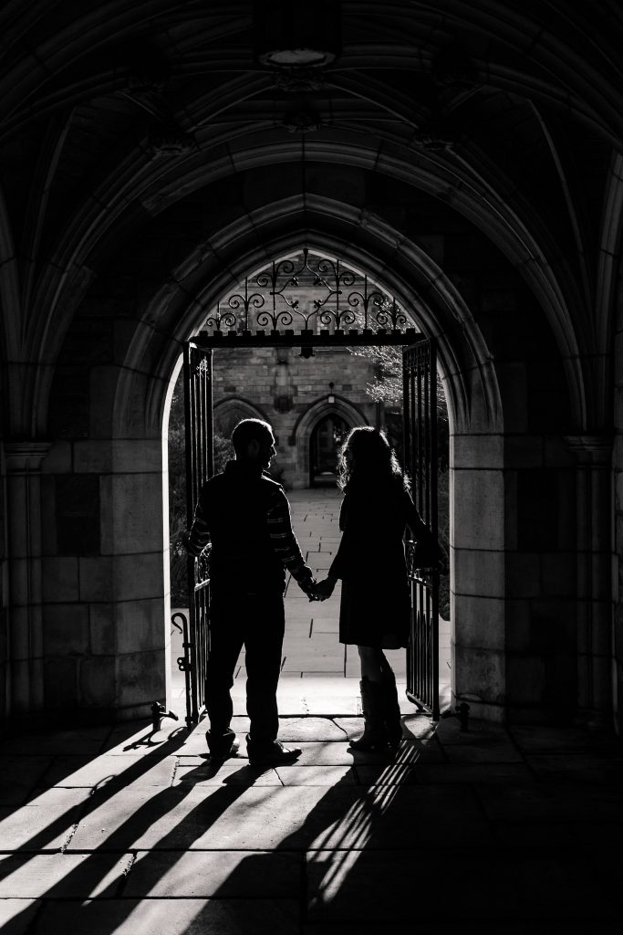 Awesome architecture for an engagement session at Yale University!