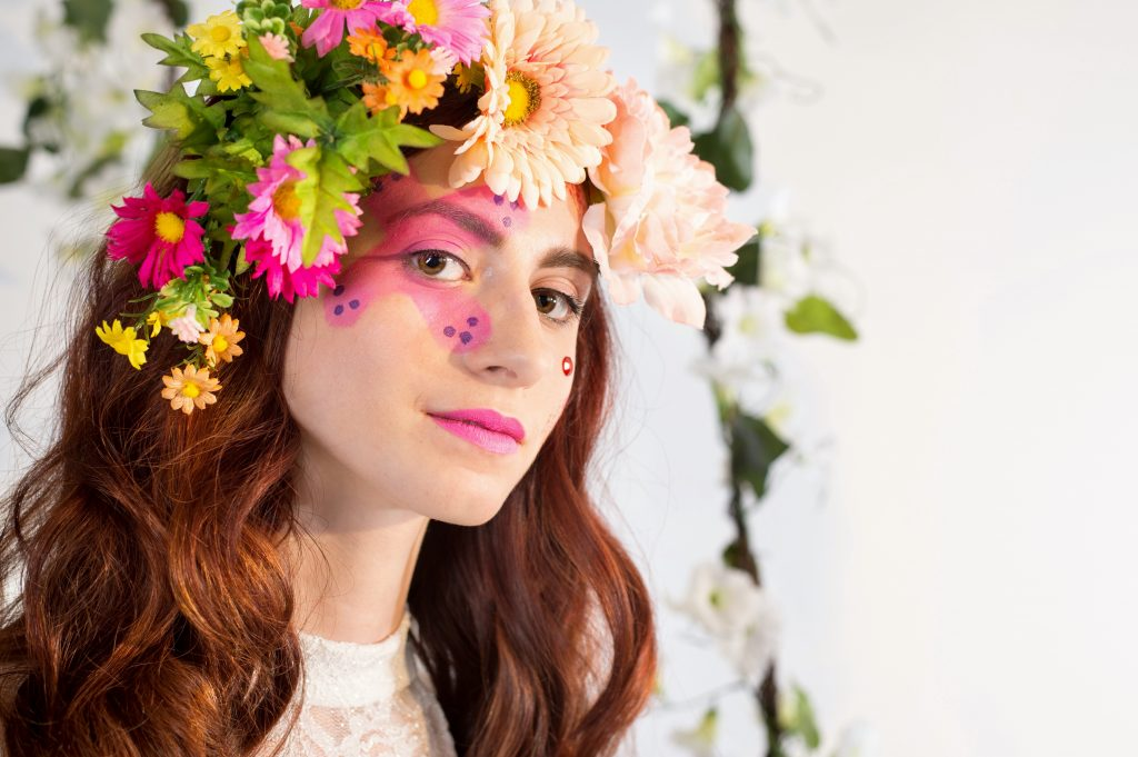 A spin on florals with floral inspired makeup by LA Page Makeup.