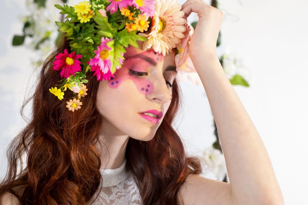 Some days are easier than others...floral inspired makeup by LA Page Makeup.