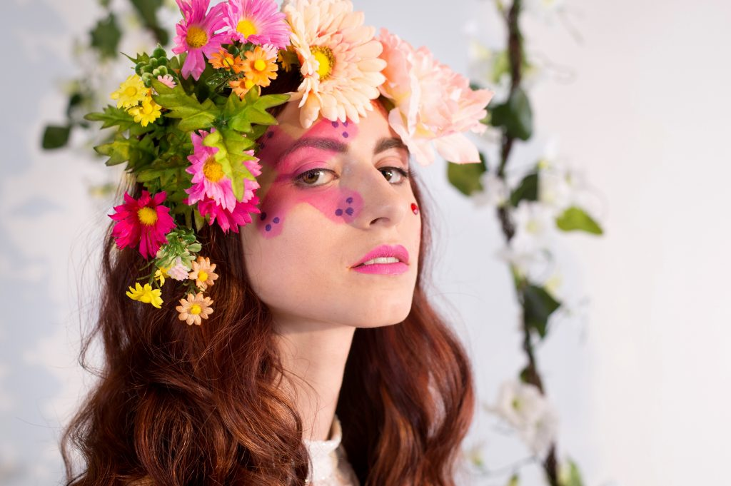 She got that come hither look - floral inspired makeup by LA Page Makeup.