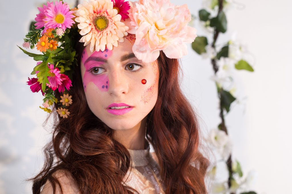 Floral inspired photoshoot by LA Page Makeup, professional makeup artist in CT.