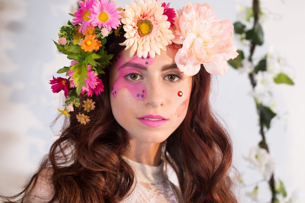 Fun, editorial, floral inspired makeup for an editorial photoshoot by LA Page Makeup.
