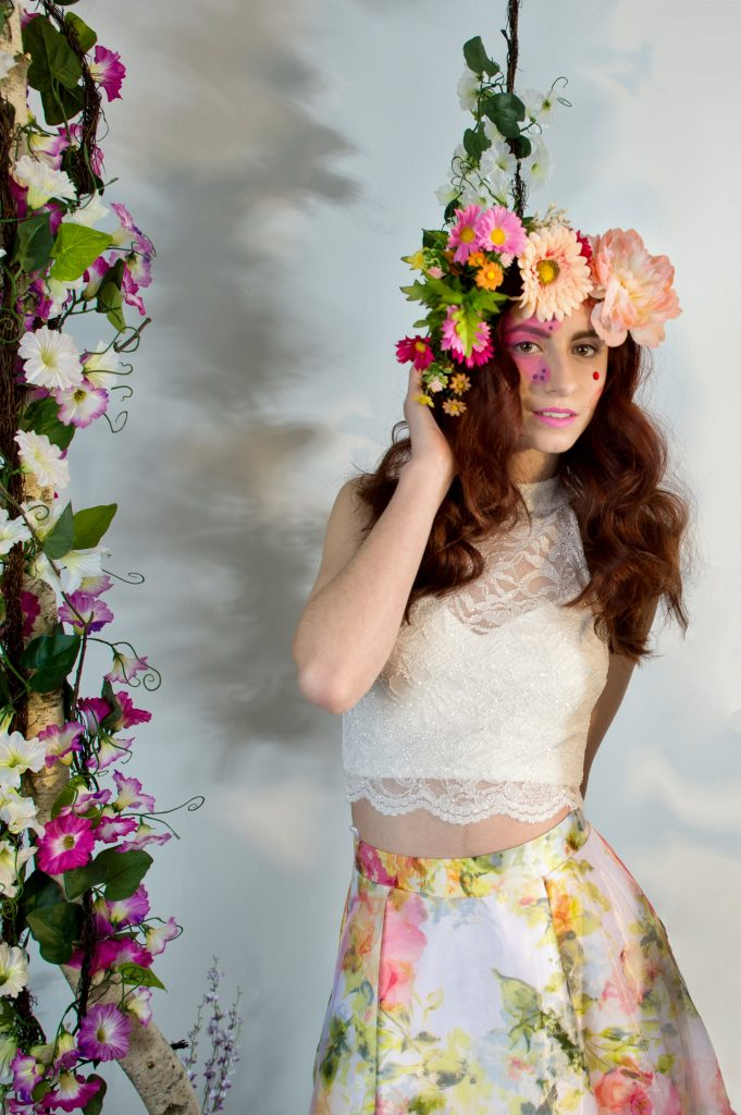 Playing with light and shadows for a fun, floral photoshoot with LA Page Makeup.