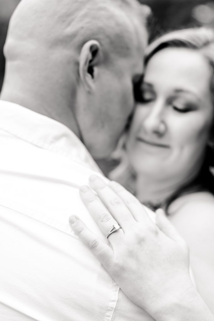 Who doesn't look gorgeous black and white ring shots?! This is from an engagement session at Lavender Pond Farm in Killingworth, CT.