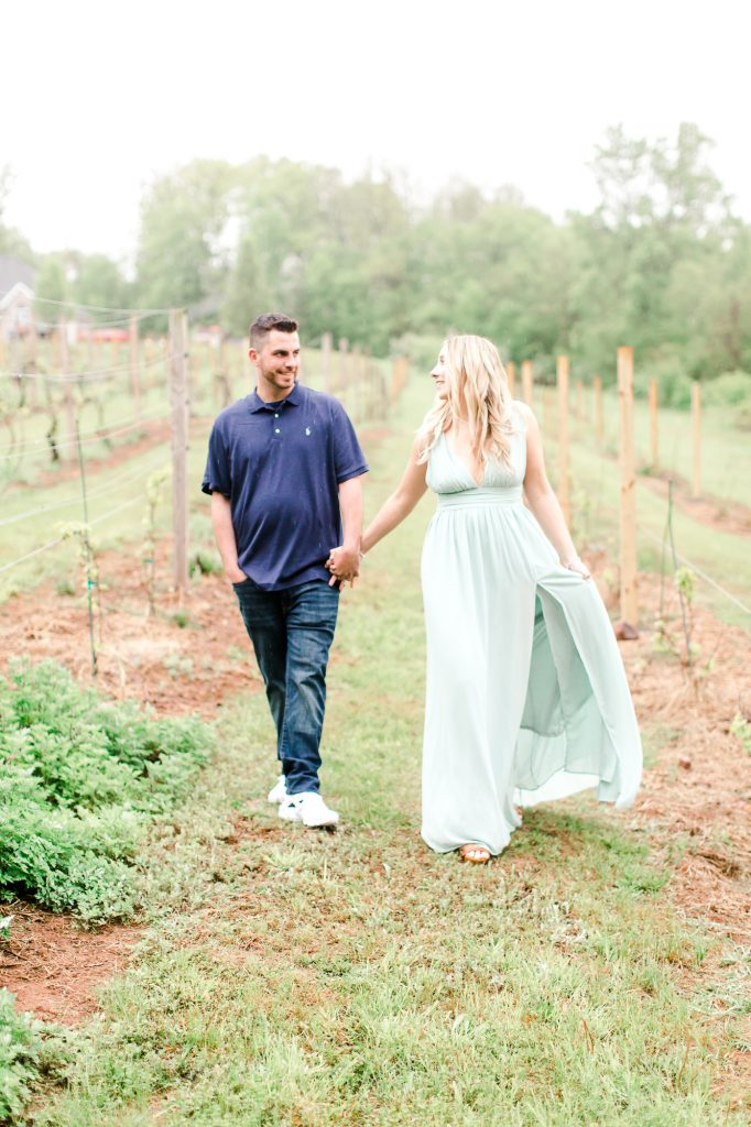 Loving looks between these two for their engagement session at Paradise Hills Vineyard in Wallingford, CT.