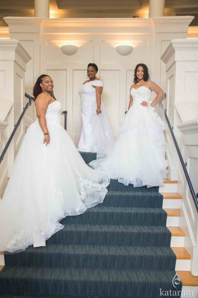 Three beautiful women modeling gowns by NuBridal Designs and makeup by LA Page Makeup.