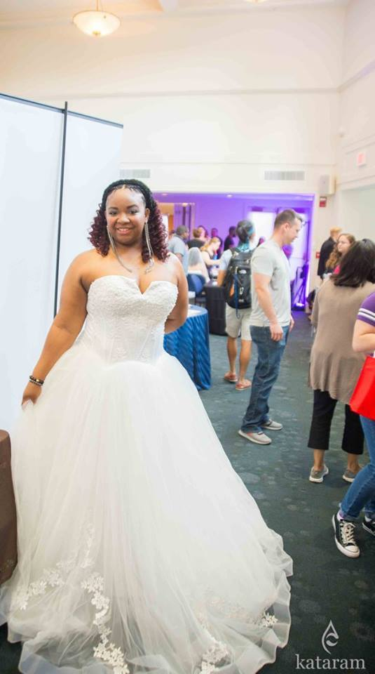 One of the beautiful women from the Royal Bridal Expo at UCONN in Storrs, CT modeling a gown by NuBridal Designs and makeup by LA Page Makeup.