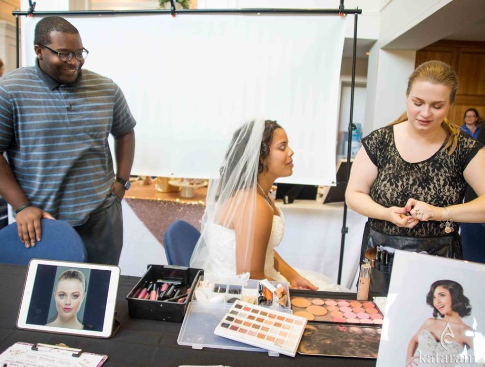 LA Page Makeup working behind the scenes at the Royal Bridal Expo at UCONN in Storrs, CT.