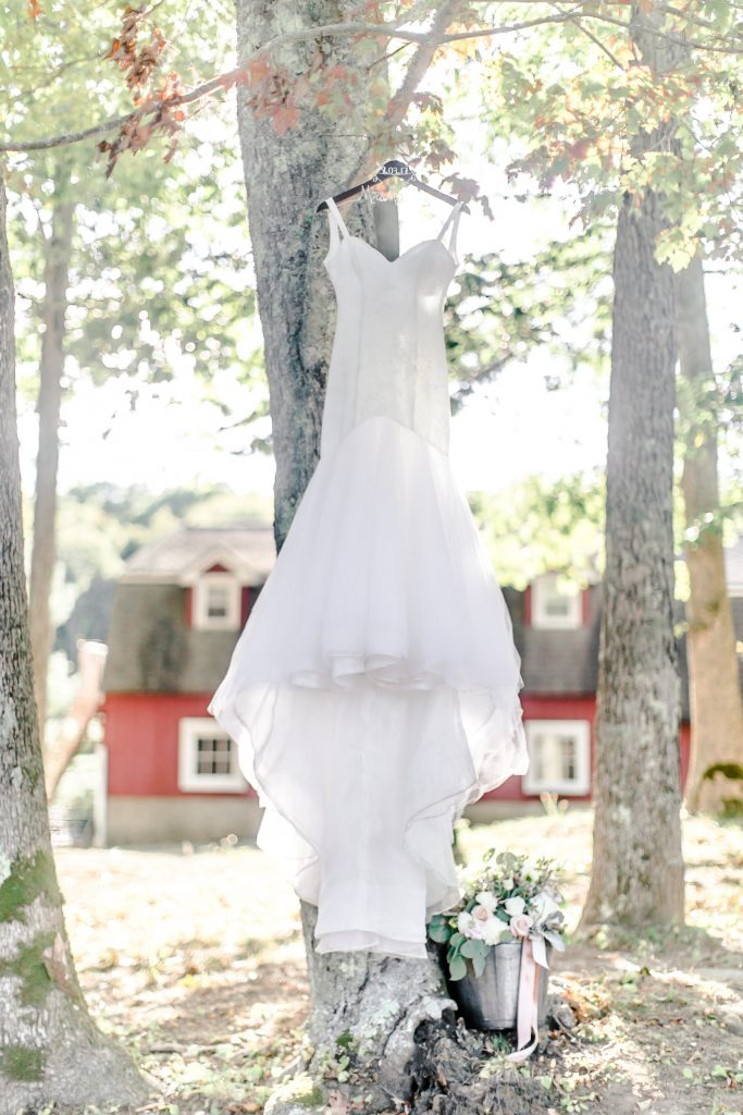 Gorgeous gown shot by Ever Thine Bridal at Lavender Pond Farm in Killingworth, CT.
