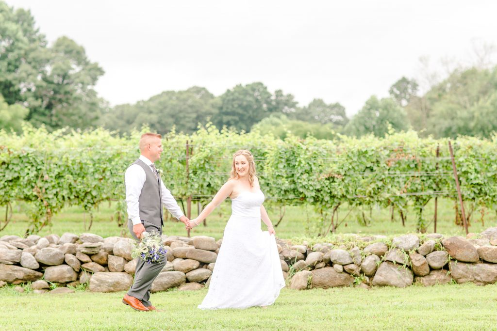 First walk together as husband and wife at Chamard Vineyard in Cliton, CT.