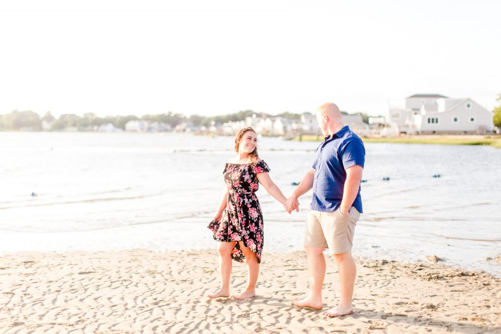 How fun is this shot during their engagement session at Harvey's Beach in Old Saybrook, CT?!