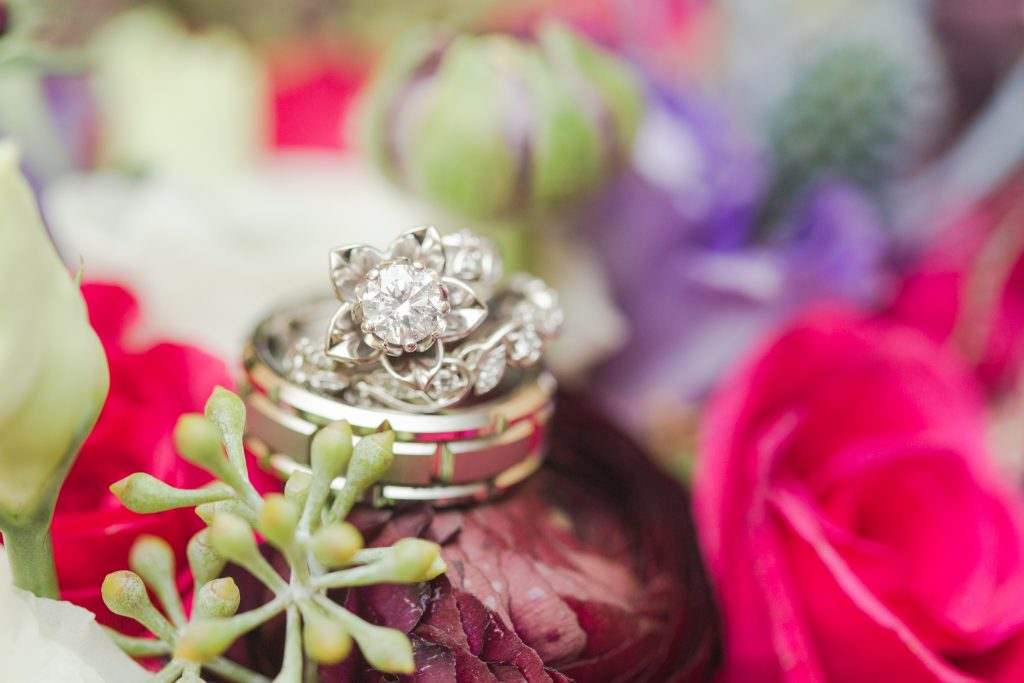 Gorgeous ring and florals shot at The Lake House wedding in Wolcott, CT.