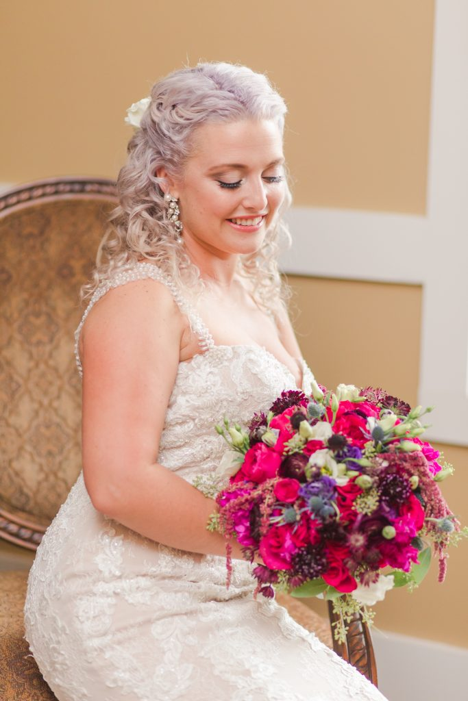 Capturing pure beauty emphasizing the beautiful makeup, hair, florals, and gown at The Lake House wedding in Wolcott, CT.