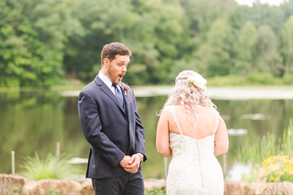 Best. Reaction. Ever! Check out this adorable first look at The Lake House wedding in Wolcott, CT.