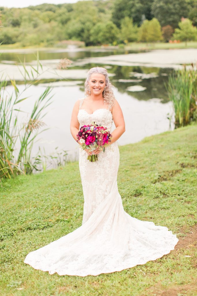 What a beautiful bride from head to toe at The Lake House wedding in Wolcott, CT.