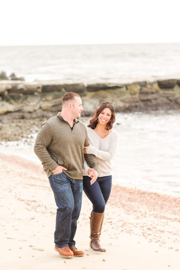 I would be smiling that big if I was that in love, too at this couple's engagement session in Old Saybrook, CT.