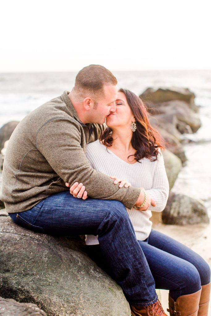 A kiss to seal the deal at Nick and Jessica's engagement session in Old Saybrook, CT.