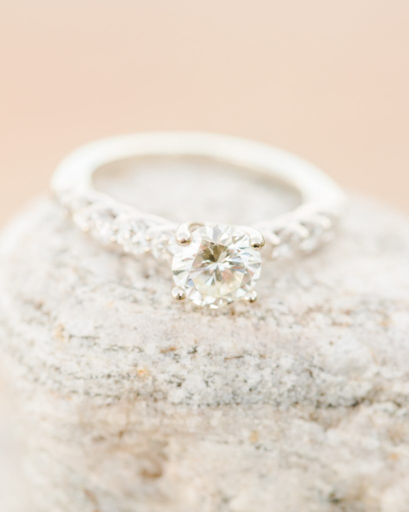 How GORGEOUS is this classic engagement ring at an engagement session in Old Saybrook, CT?!