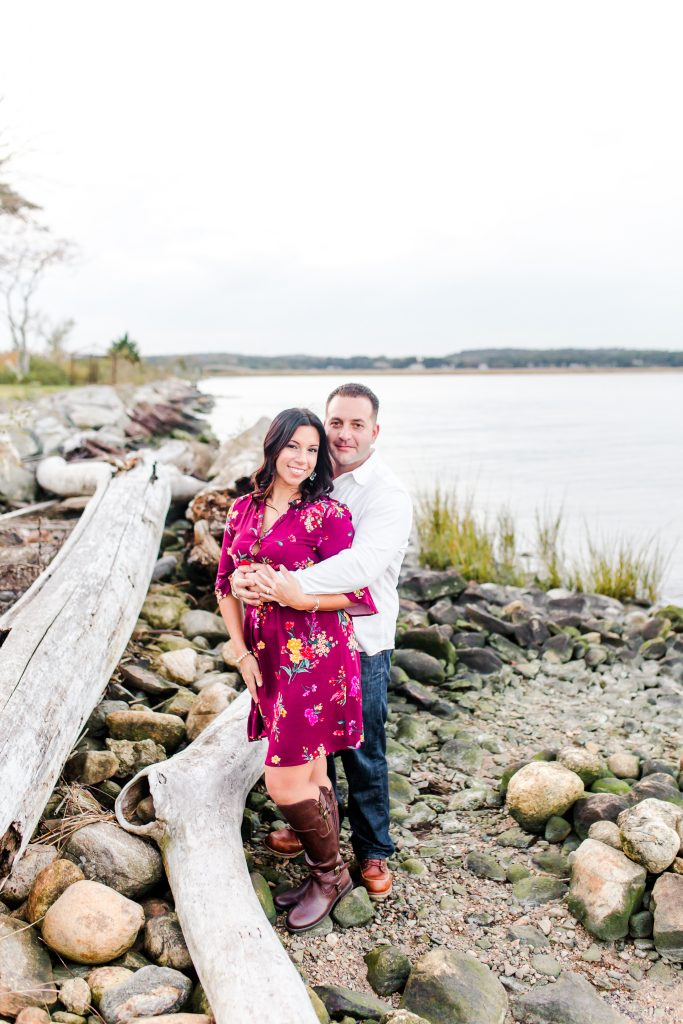 Some scenery never hurts to complete the look at an engagement session in Old Saybrook, CT.