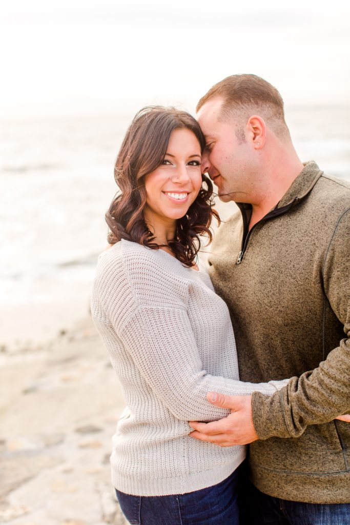 Big smiles and comfy sweaters at this engagement session in Old Saybrook, CT.