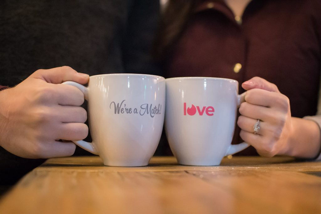Tinder match made in Heaven! How cool are these mugs Tinder sent the happily engaged couple?!