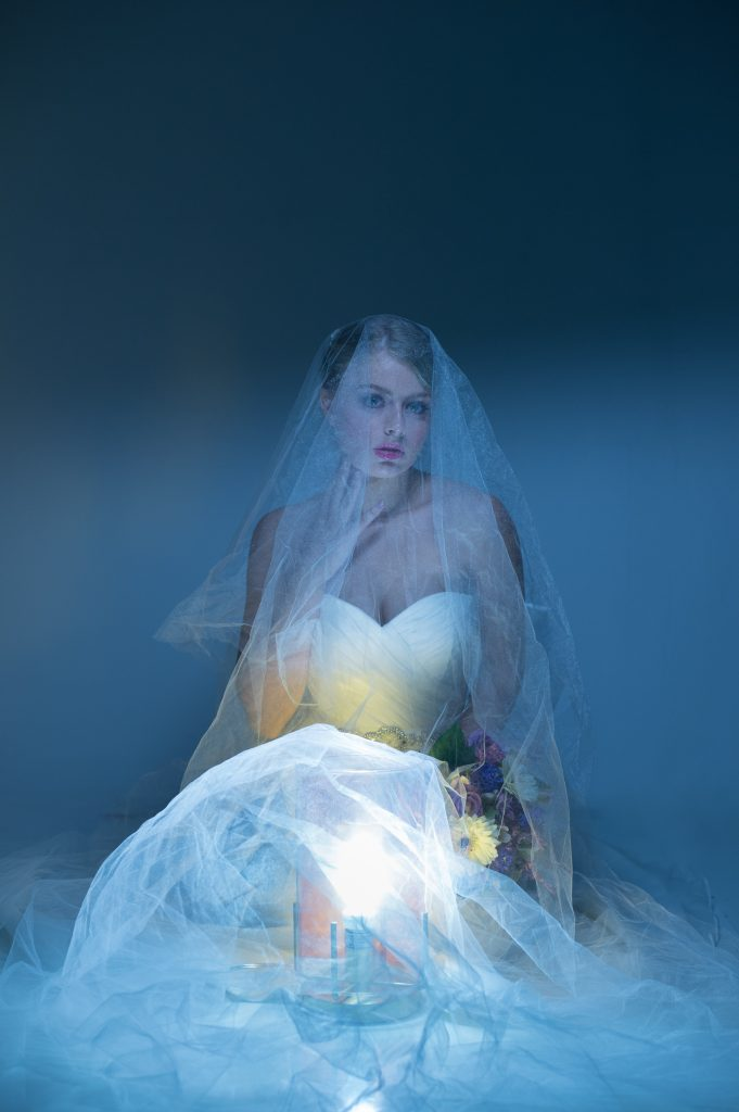 This veil and lighting created a moody effect for this bridal photoshoot.