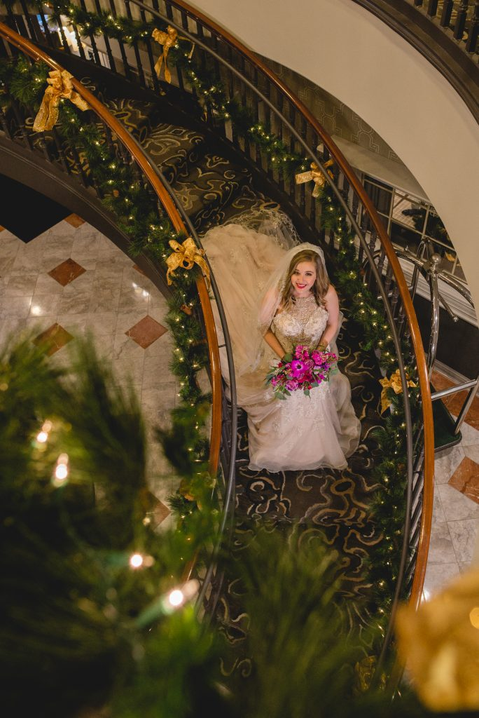 This bride is happy to be getting married at the gorgeously decorated Inn At Middletown during Christmastime!