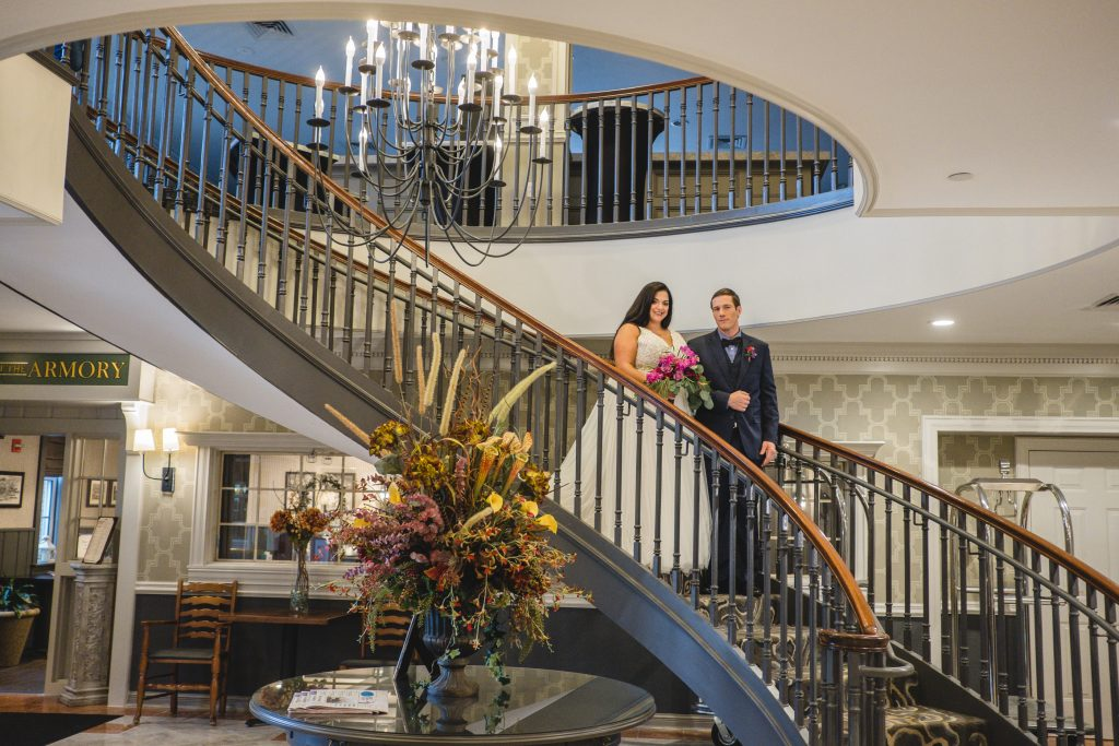 The perfect staircase for wedding photos at the Inn At Middletown.