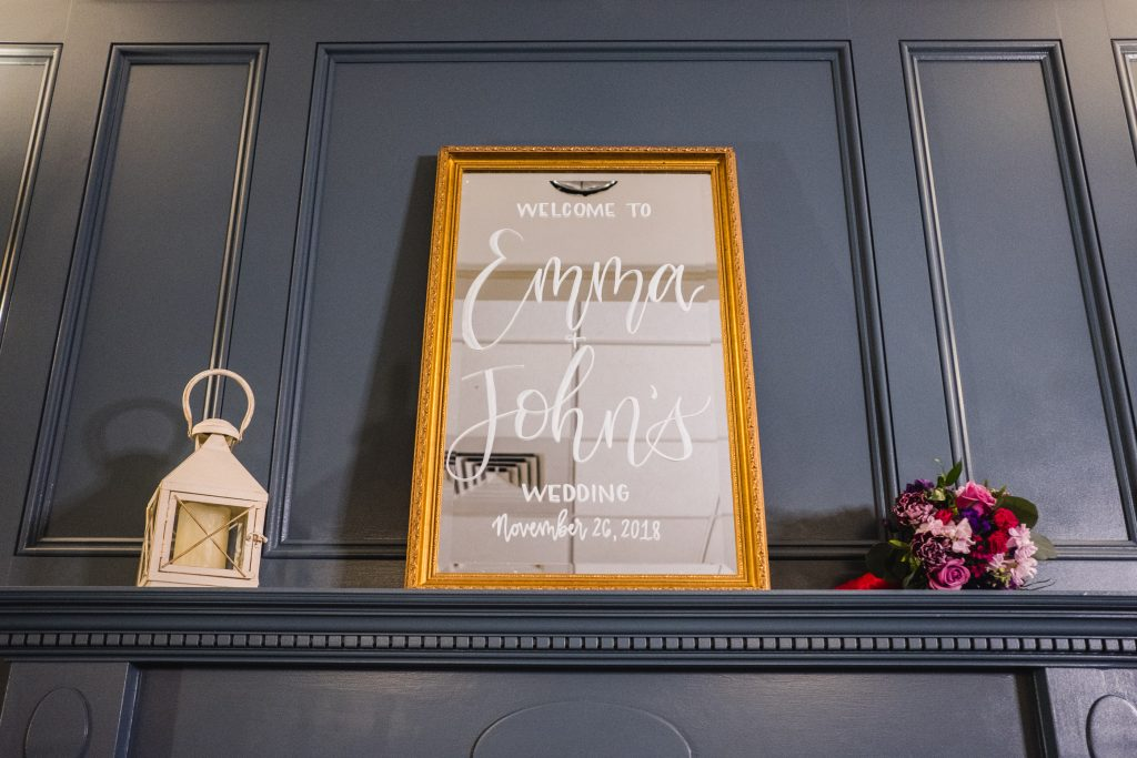 Calligraphy on this mirror for a bridal photoshoot by TS Calligraphy