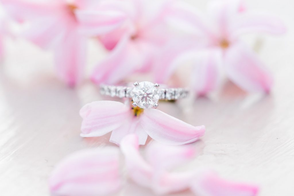 Beautiful ring shot at engagement session at Wickham Park in Manchester, CT.