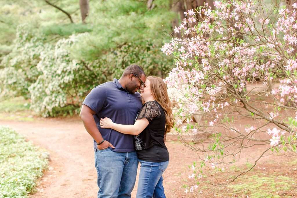 All giggles and smiles at our engagement session at Wickham Park in Manchester, CT.