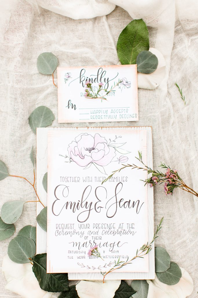 How gorgeous are these invitations and RSVP cards for the Webb Barn wedding in Wethersfield, CT?!