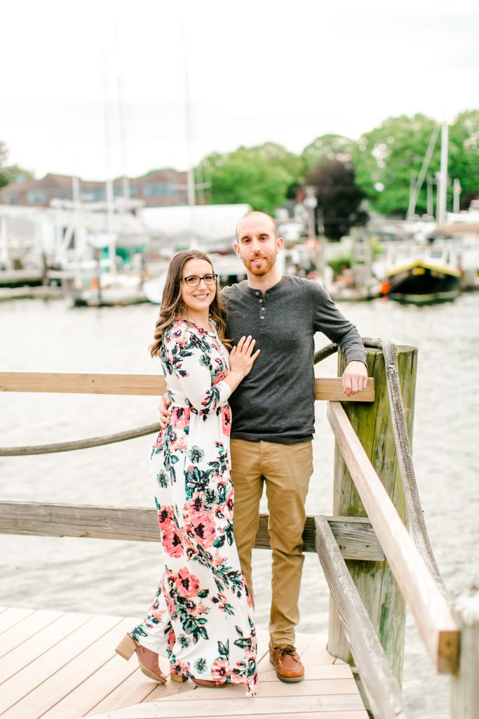 The happy couple during their engagement session at Milford Marina in Milford, CT.