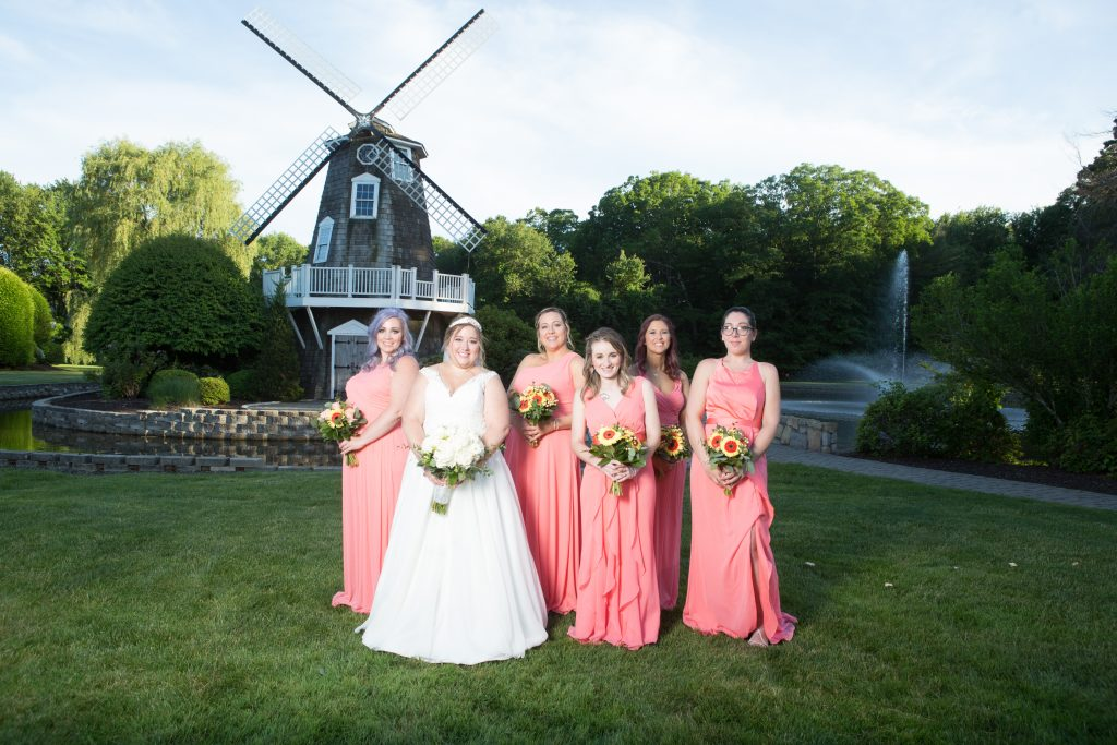 How beautiful is this bridal party near the coolest windmill at the Aqua Turf Club in Southington, CT?!