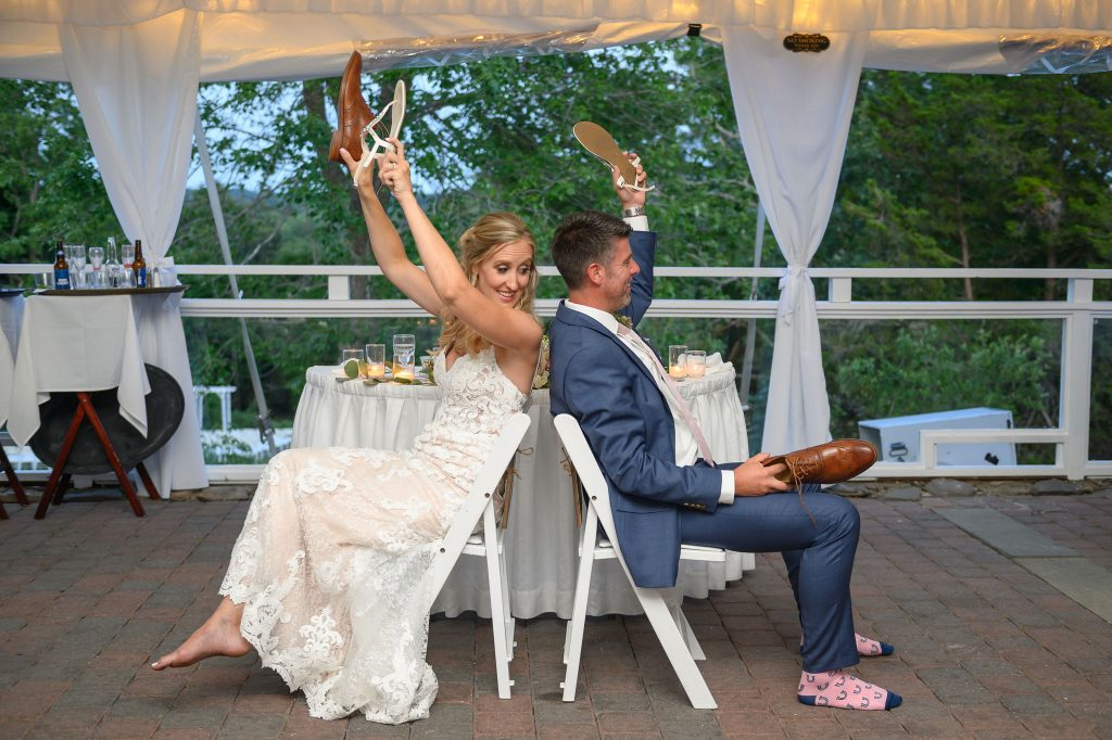 The shoe game is a super fun way to incorporate a game into your wedding while your guests get to know you two better. Some use sneakers, while others use their bridal shoes. Get ready to laugh if the answers oppose each other!