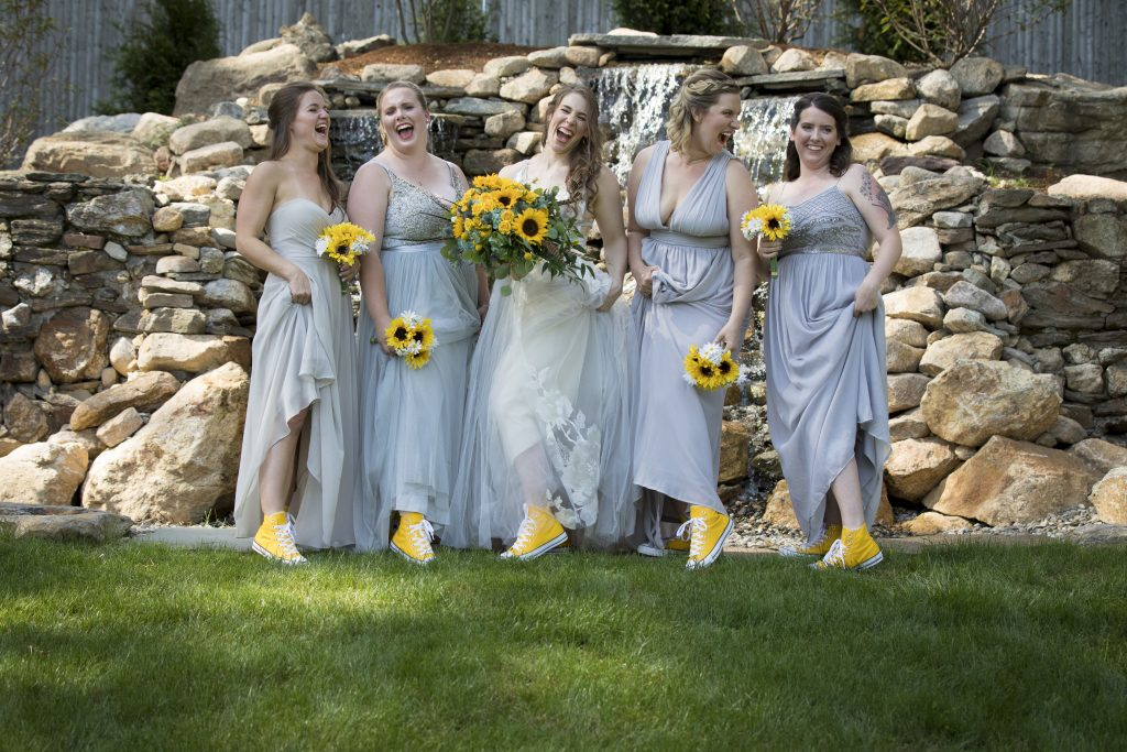 How adorable are these yellow converse sneakers? Something tells me the bridal party will be happy to wear those again.