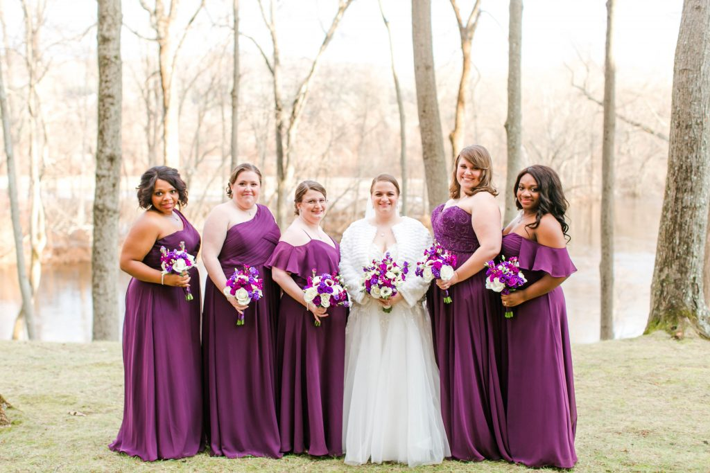 Elegant, long, floor length, mismatched bridesmaid gowns at The Riverview in Simsbury, CT.