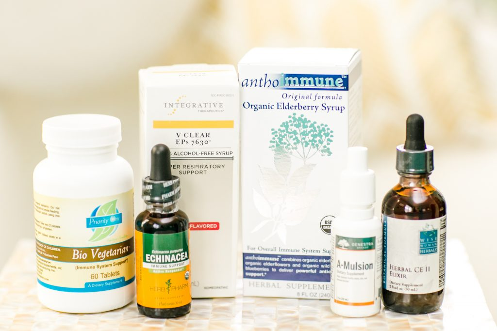 Some of Dr. Manning's favorite natural winter remedies during her medical headshots photoshoot at Naturopathic Family Health in Branford, CT.