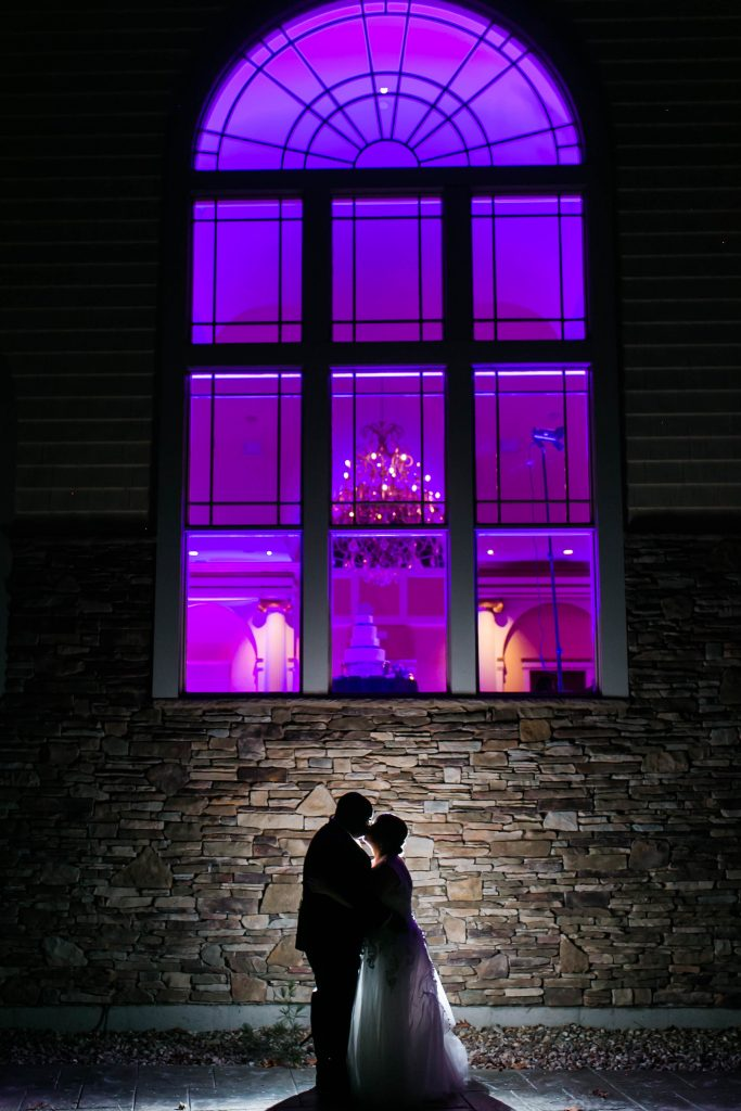 Pro Tip: sneak away for really cool wedding pictures in the dark during the reception. The bride and groom nailed this pose and created the coolest silhouette at The Riverview in Simsbury, CT.