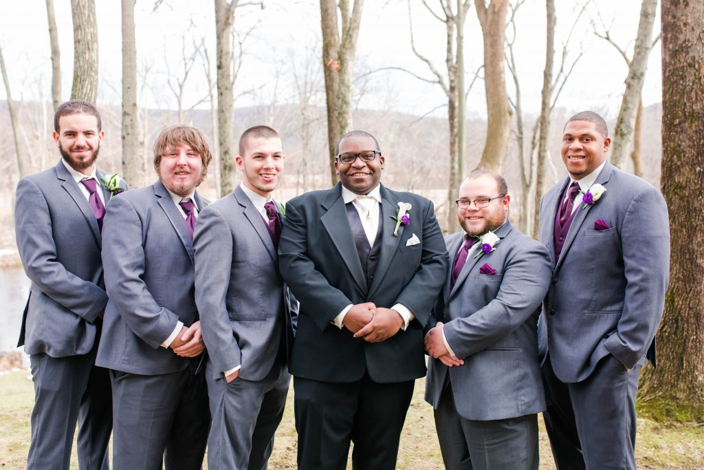 Sleek, grey and eggplant wedding tuxedos for men at The Riverview in Simsbury, CT.
