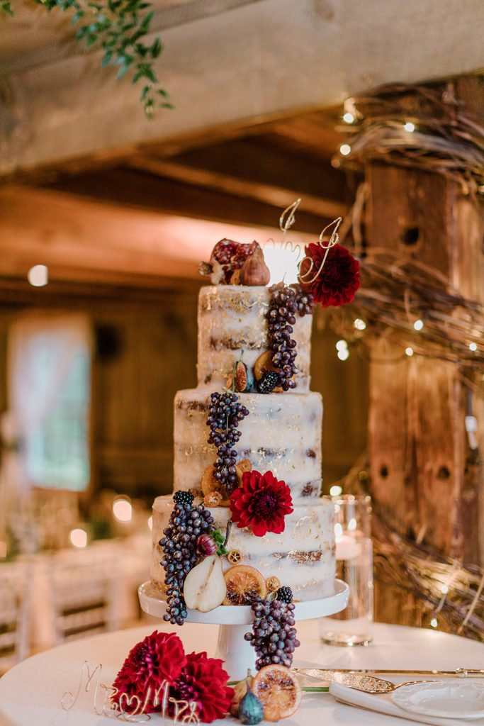 This naked wedding cake had such a cool design with fresh fruit and red flowers incorporated at Tyrone Farm in Pomfret, CT.