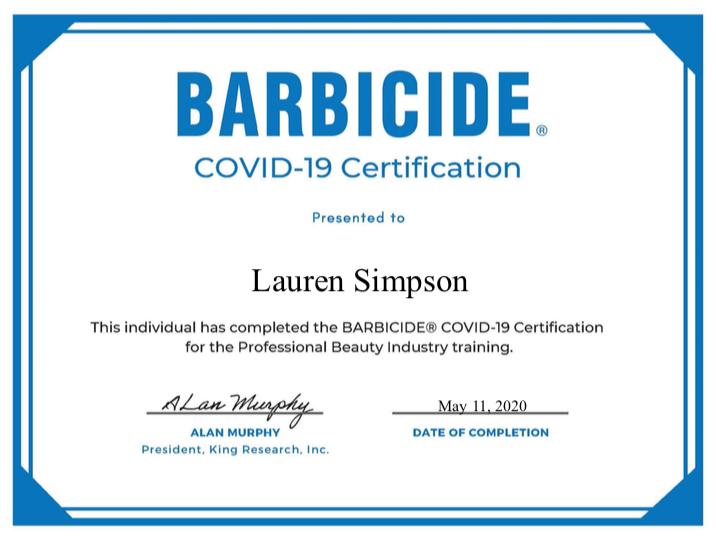 barbicide covid-19 certification