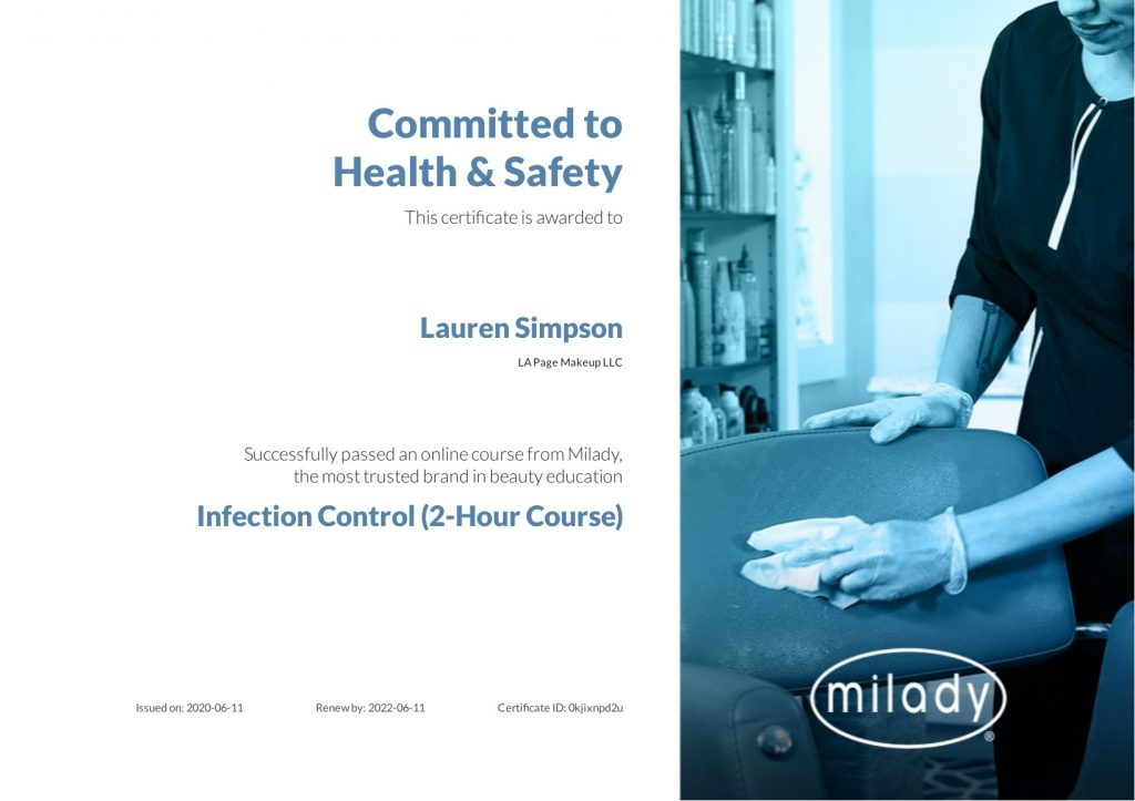 milady pro infection control certification