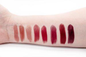 lipstick swatches on arm